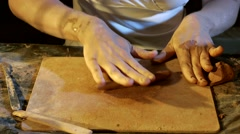 Pottery workshop, working process, close up, hands Stock Footage