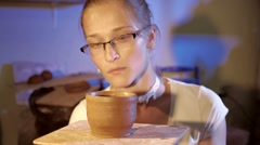 Pottery workshop, working process, close up, female Stock Footage