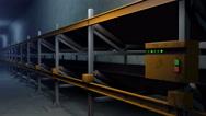 Conveyor in underground mine tunnel, 3D animation Stock Footage