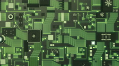Green Illuminated Futuristic Circuit Board top shot Stock Footage