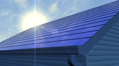 Roof with overlapping integrated photovoltaic solar shingles Stock Footage