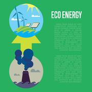Evolution from industrial pollution to eco energy Stock Illustration
