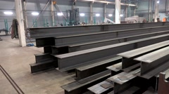 I-beams at the Metal structures plant. Stock Footage