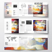 Set of tri-fold brochures, square design templates. Molecular construction with Stock Illustration