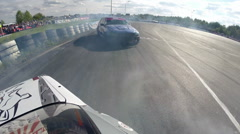 Drift racing outdoors clash Stock Footage