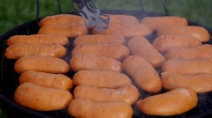Grilled sausages in the summer Stock Footage