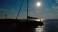 A boat during sunset in Aegean sea in Greece Stock Footage