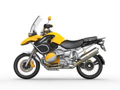 Yellow motorcycle - side view Stock Illustration
