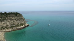 Cliff and beach view in Italy Stock Footage