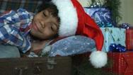 Boy in santa hat. Stock Footage