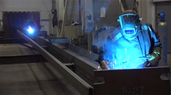 Gas metal arc welding (GMAW) of the beam rod at the Metal structures plant. Stock Footage