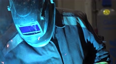 Protective working helmet during Metal arc welding. Stock Footage