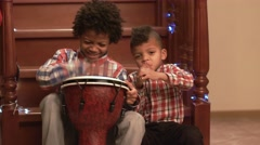 Boys with music instruments. Stock Footage