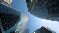 Group of modern skyscrapers in buisness city, Slow rotating timelapse Stock Footage