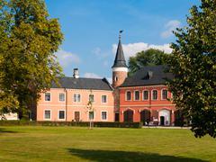 Sychrov Castle with pink facade in Czech Republic Stock Photos