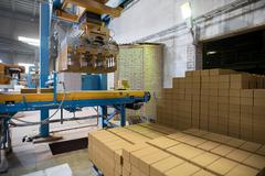 Industry. Manufacturing of bricks on factory Stock Photos