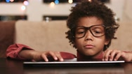 Boy typing on keyboard. Stock Footage