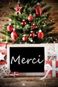 Christmas Tree With Merci Means Thank You Stock Photos