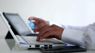 Online shopping laptop in office Stock Footage