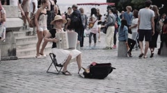 Accordionist playing in Montmarte, Paris Stock Footage