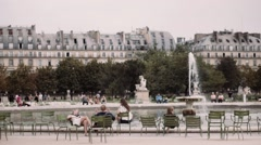Fountain in Paris garden, jardin des tuileries Stock Footage