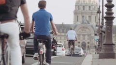 Bikes and cars on pont Alexandre III, Paris Stock Footage