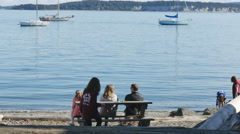 Editorial-Family enjoys a sunny Labor Day weekend on the beach-Port Townsend Stock Footage