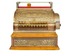 Vintage cash register isolated on white Stock Photos