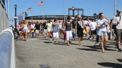 FLUSHING, NEW YORK - SEPT 1, 2012: US Open Tennis spectators enter the grounds Stock Footage