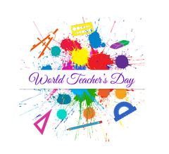 Vector World Teacher s Day over Bright Ink Color Blots Stock Illustration