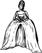 Outlined Woman with Round Gown and Stomacher Stock Illustration