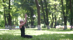 Woman doing headstand. Stock Footage