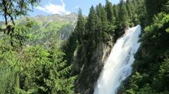 Krimml Waterfalls in Pinzgau, Salzburger Land at Austria. European Alps lands Stock Footage