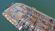 Commercial port with container ships - Aerial footage Stock Footage