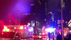 Ambulances and Firetrucks pull up to Grand Central.  In Stock Footage