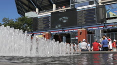 US Open Tennis fans gather around fountains Stock Footage