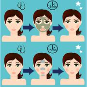 Vector girl portrait with facial skin mask Stock Illustration