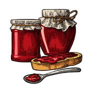 Jar with packaging paper, spoon and slice of bread with jam. Stock Illustration