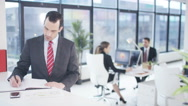 4K Corporate business group working together in modern city office Stock Footage