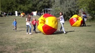 Children Play In Park With Zorb Bubbles Balls Stock Footage