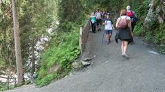 People visiting the Krimml Waterfalls Stock Footage