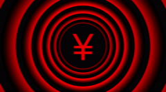 Falling Japan Yen sign surrounded by red blurred circles - visual illusion. Stock Footage