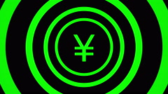 Growing Japan Yen sign surrounded by green circles - visual illusion. Stock Footage