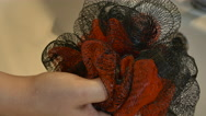 Young Woman Preparing For Shower, Pouring Shower Gel On Her Luffa Sponge, Detail Stock Footage