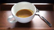 Pouring stream milk into espresso coffee, slow motion Stock Footage