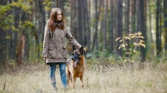 Young woman standing with a shepherd dog in autumn forest - stroking the nape Stock Footage