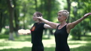 Young women doing yoga in the park. Stock Footage