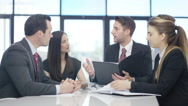 4K Corporate business team in a meeting in modern city office Stock Footage