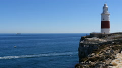 Trinity Lighthouse at Europa Point , Gibraltar Stock Footage