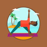 Man practicing yoga triangle pose on the beach Stock Illustration